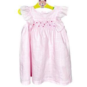 Light Pink Smocked Apron Dress 9 Months Cotton GUC